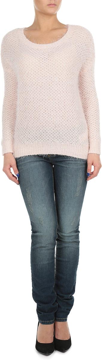 Пуловер женский. SPUACPAULISPUACPAULI 3D/PNK094Стильный женский пуловер Tally Weijl, изготовленный из высококачественной акриловой пряжи с добавлением полиэстера, не сковывает движения, обеспечивая наибольший комфорт. Модель с круглым вырезом горловины и длинными рукавами великолепно сидит, а однотонная расцветка прекрасно сочетается с любыми нарядами. Низ, манжеты и вырез горловины пуловера связаны резинкой. Пуловер крупной вязки поможет вам создать стильный современный образ в стиле Casual. Этот теплый и комфортный пуловер станет отличным дополнением к вашему гардеробу. В нем вы всегда будете чувствовать себя уютно в прохладное время года.