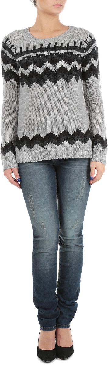 Пуловер женский. 6010148560101485 80AСтильный женский пуловер Broadway, изготовленный из высококачественной пряжи из акрила, не сковывает движения, обеспечивая наибольший комфорт. Модель с круглым вырезом горловины и длинными рукавами-реглан великолепно сидит. Пуловер оформлен узором в виде контрастных полос. Низ и манжеты пуловера связаны резинкой. Пуловер крупной вязки поможет вам создать стильный современный образ в стиле Casual. Этот теплый и комфортный пуловер станет отличным дополнением к вашему гардеробу. В нем вы всегда будете чувствовать себя уютно в прохладное время года.