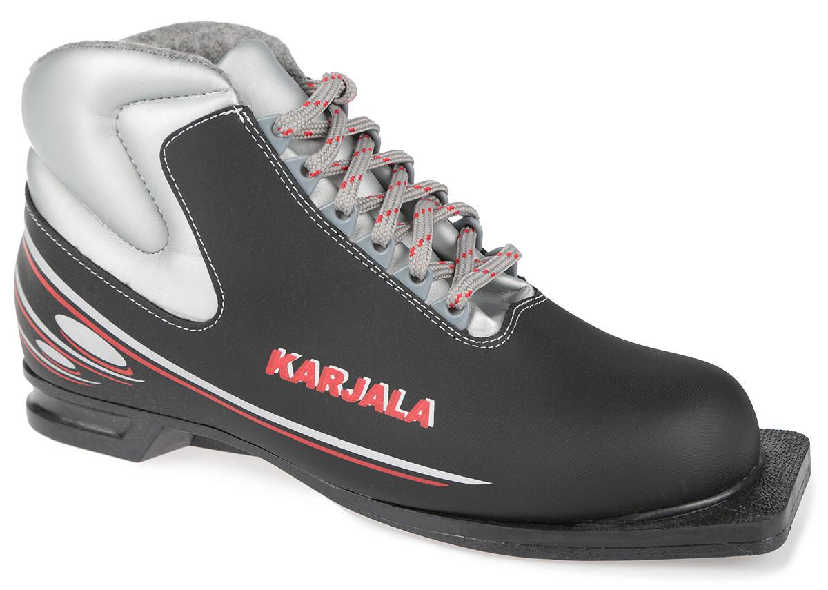 Ботинки лыжные Karjala Country 75 ммCountry 75 мм BlackБотинки для беговых лыж Country предназначены для классического стиля. Модель изготовлена из высококачественного синтетического морозостойкого материала и имеет утеплитель из меха и капровелюра, благодаря чему ваши ноги всегда будут в тепле. Вставки в мысовой и пяточной частях обеспечивают дополнительную жесткость, позволяя дольше сохранять первоначальную форму ботинка и предотвращать натирание и наминание стопы. Ботинки снабжены шнуровкой с пластиковыми петлями и язычком-клапаном, который защищает от попадания снега и влаги. Подошва системы 75 мм из двухкомпонентной резины, является надежной и весьма простой системой крепежа и позволяет безбоязненно использовать ботинок до -30°С.