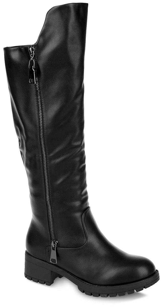 Сапоги женские. 958060/04958060/04-01Стильные женские сапоги от Betsy заинтересуют вас своим дизайном. Модель выполнена из искусственной кожи. Сбоку изделие оформлено декоративной молнией. Подкладка, изготовленная из комбинации шерсти и искусственного меха, а стелька - из шерсти защитят ноги от холода и обеспечат комфорт. Сапоги застегиваются на застежку-молнию, расположенную на одной из боковых сторон. Умеренной высоты каблук и подошва из полимера с рельефным протектором обеспечивают отличное сцепление с любой поверхностью. В этих сапогах вашим ногам будет комфортно и уютно. Они подчеркнут ваш стиль и индивидуальность.