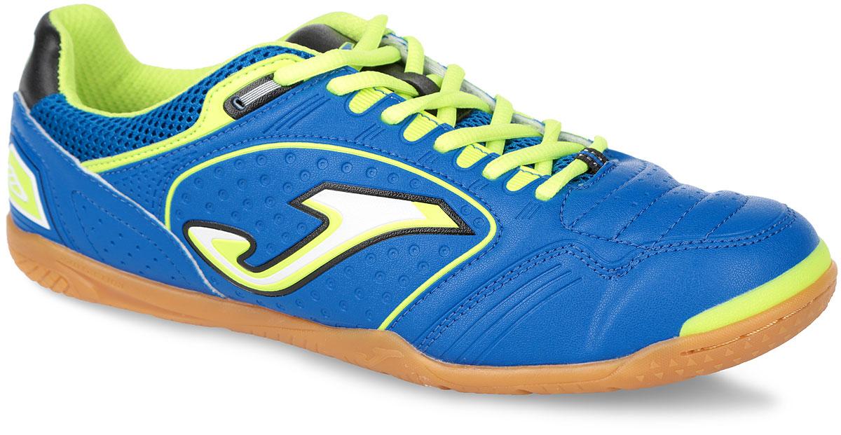 Кроссовки для футзала мужские Maxima. MAXW.405.PSMAXW.405.PSМужские кроссовки для футзала Joma Maxima выполнены из высококачественной искусственной кожи и дополнены текстильными сетчатыми вставками для улучшения воздухопроницаемости. Верх изделия оформлен шнуровкой, которая фиксирует надежно обувь на ноге и регулирует объем. По бокам, на заднике и язычке кроссовки декорированы логотипом бренда. Подкладка и стелька из текстиля обеспечат вашим ногам комфорт и уют. Резиновая подошва с рельефным протектором, дополненная усиленными вставками для ног, гарантирует идеальное сцепление с любыми поверхностями. Идеально подходит для занятия спортом в зале.