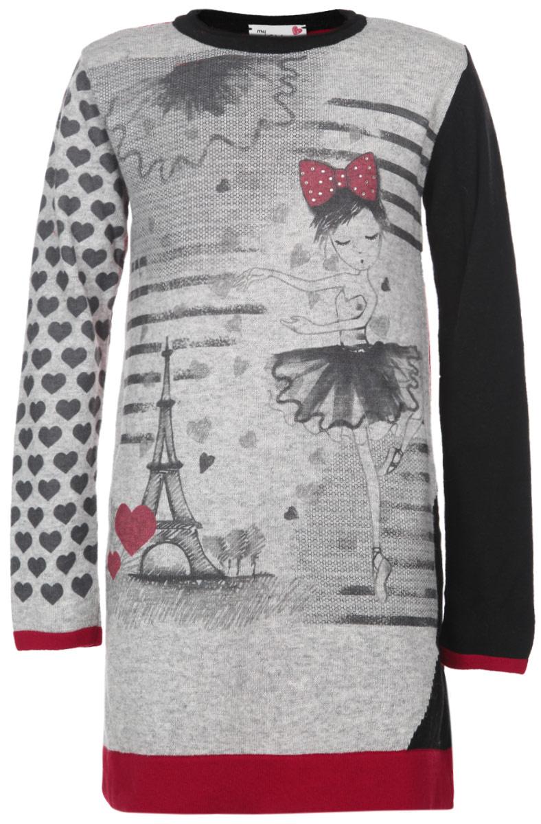 Платье для девочки. 90932809093280Вязаное платье для девочки Chicco идеально подойдет вашей дочурке в прохладное время года. Сложный состав пряжи, включающий шерсть, полиамид, вискозу и кашемир, делает его теплым, мягким и комфортным в носке. Платье с длинными рукавами и круглым вырезом горловины имеет трапециевидный крой. Края рукавов и низ платья выполнены из двойного полотна. Изделие оформлено принтом с изображением балерины и Эйфелевой башни, а также декорировано стразами. Это модное детское платье послужит отличным дополнением к гардеробу вашей принцессы. В нем она будет чувствовать себя уютно и комфортно, и всегда будет в центре внимания!