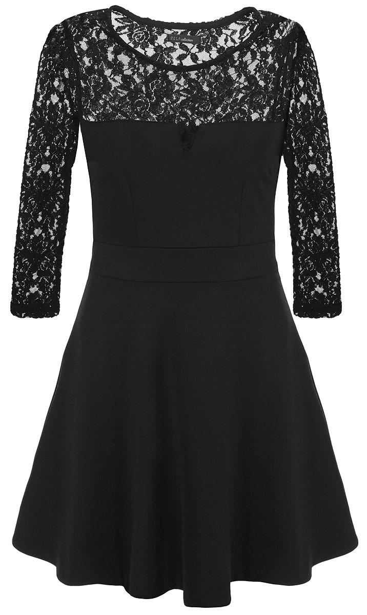Платье. DK-117/681DK-117/681-5416DОчаровательное платье Sela приталенного силуэта из мягкого плотного трикотажа подойдет не только для повседневной носки, но и с легкостью поможет создать романтический образ. Модель с круглым вырезом горловины и рукавами 3/4 расширена к низу. Изюминка модели - легкий кружевной верх. Это стильное платье подарит вам комфорт и станет отличным дополнением к вашему гардеробу.