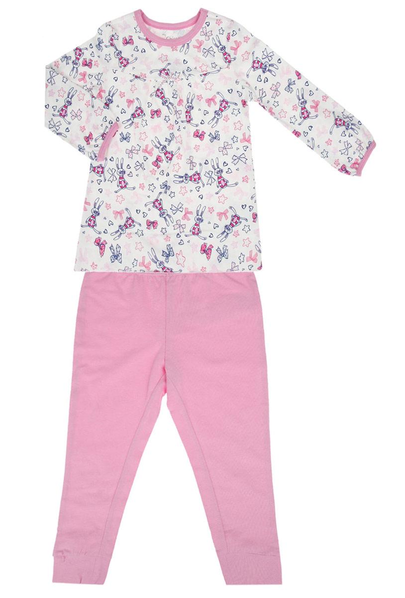 Пижама для девочки. 90310989031098Удобная пижама для девочки Chicco, состоящая из футболки с длинным рукавом и брюк, идеально подойдет вашему ребенку. Пижама выполнена из эластичного хлопка, она очень мягкая и приятная на ощупь, не сковывает движения и позволяет коже дышать, не раздражает даже самую нежную и чувствительную кожу ребенка, обеспечивая ему наибольший комфорт. Футболка с длинными рукавами и круглым вырезом горловины оформлена мелким принтом по всей поверхности с изображением зайчиков. Вырез горловины и низ рукавов дополнены трикотажными бейками контрастного цвета. От линии груди заложены небольшие складочки, придающие изделию оригинальность. Модель декорирована маленьким бантиком. Брюки прямого кроя на поясе имеют широкую эластичную резинку, благодаря чему они не сдавливают животик ребенка и не сползают. Низ брючин дополнен широкими эластичными манжетами. Пижама станет отличным дополнением к гардеробу маленькой принцессы, в ней ваш ребенок будет чувствовать себя...