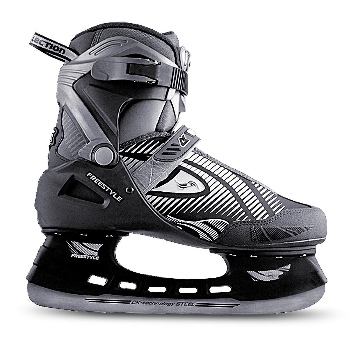 Коньки хоккейные мужские FreestyleFREESTYLEОригинальные мужские коньки от CK Freestyle с ударопрочной защитной конструкцией прекрасно подойдут для начинающих игроков в хоккей. Сапожок, выполненный из комбинации ПВХ, морозостойкой искусственной кожи, нейлона и капровелюра, обеспечит тепло и комфорт во время катания. Внутренний слой изготовлен из фланелета, а стелька - из текстиля. Пластиковая бакля и шнуровка с фиксатором, а также хлястик на липучке надежно фиксируют голеностоп. Плотный мысок и усиленный задник оберегают ногу от ушибов. Фигурное лезвие изготовлено из углеродистой нержавеющей стали со специальным покрытием, придающим дополнительную прочность. Изделие по верху декорировано оригинальным принтом и тиснением в виде логотипа бренда. Задняя часть коньков дополнена широким ярлычком для более удобного надевания обуви. Стильные коньки придутся вам по душе.