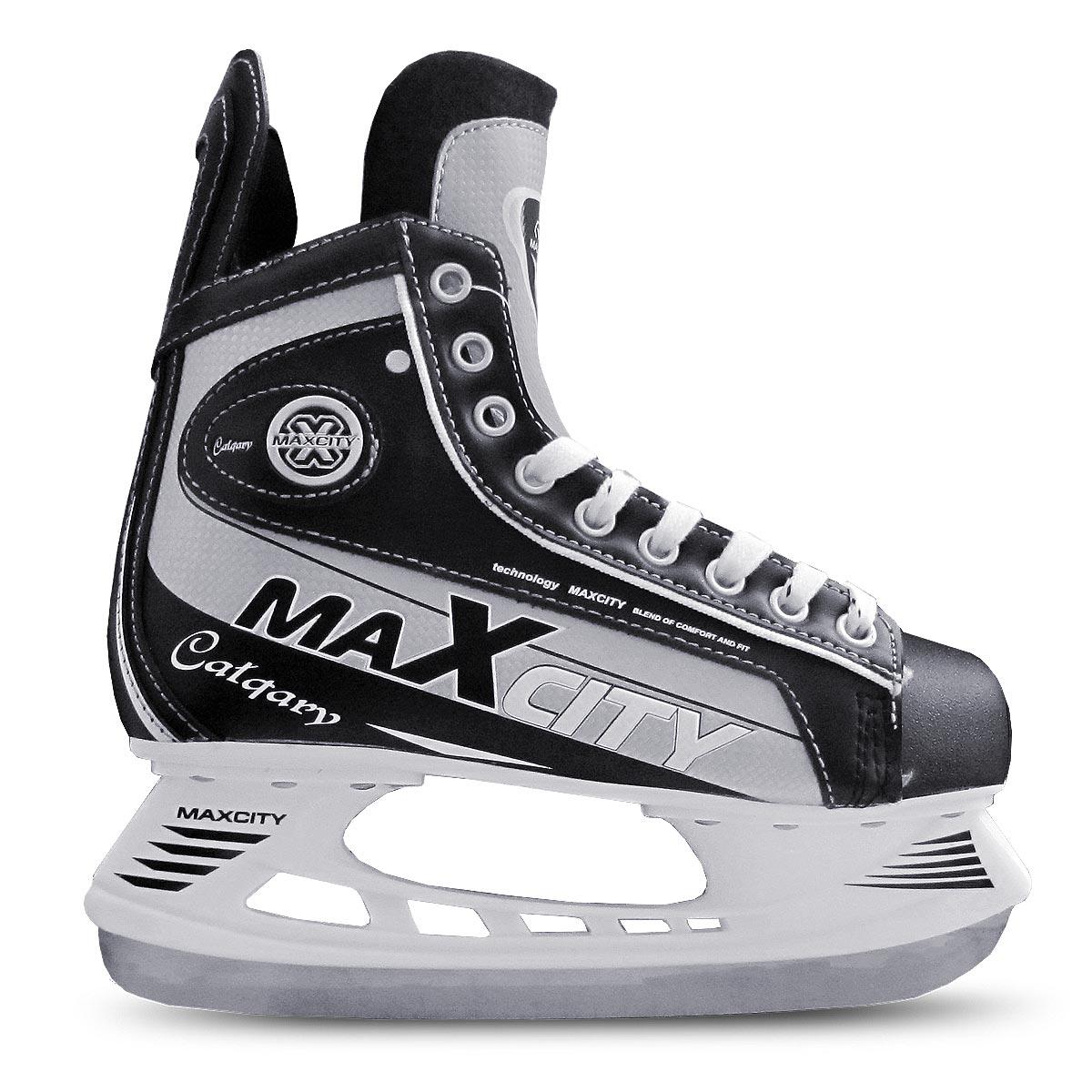 Коньки хоккейные мужские CalgaryCALGARYСтильные коньки от MaxCity Calgary с ударопрочной защитной конструкцией отлично подойдут для полупрофессионального катания. Ботинки изготовлены из комбинации морозостойкой искусственной кожи, ПВХ и искусственных материалов с высокой, плотной колодкой и усиленным задником, обеспечивающим боковую поддержку ноги. Мыс дополнен вставкой, которая защитит ноги от ударов. Внутренний слой с мягкими вставками EVA и стелька изготовлены из мягкого текстиля, который обеспечит тепло и комфорт во время катания, язычок - из войлока. Плотная шнуровка надежно фиксирует модель на ноге. Голеностоп имеет удобный суппорт. Коньки по верху декорированы оригинальным принтом и тиснением в виде логотипа бренда. Подошва - из твердого ПВХ. Лезвие из нержавеющей стали обеспечит превосходное скольжение. Оригинальные коньки придутся вам по душе.