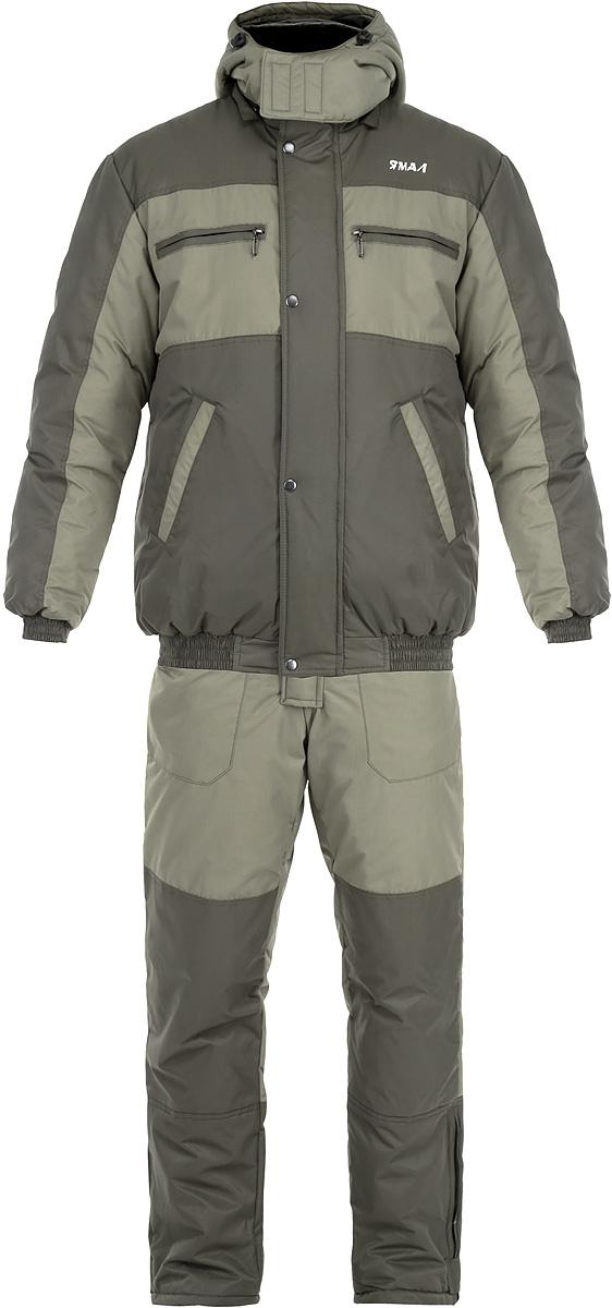 Костюм рыболовный0054568Костюм Таймыр состоит из удлиненной куртки и полукомбинезона. Костюм изготовлен из нейлона таслана с утеплителем Аляска. Утеплитель Адяска изготавливается из высокоизвитых полых силиконизированных волокон, что придает данному утеплителю высокие показатели по теплоизолирующим и компрессионным свойствам. Костюм предназначен для носки при температуре до -35°С. Куртка прямого силуэта со съемным регулируемым капюшоном. Застегивается куртка на застежку-молнию и ветрозащитный клапан на кнопках. Воротник-стойка с мягкой микрофлисовой подкладкой. Низ и рукава изделия собраны в эластичную резинку. Удобная конструкция карманов: на груди два врезных кармана на молнии и два боковых прорезных кармана. Также внутри один накладной вместительный карман на молнии. Полукомбинезон свободный не стесняющий движения покрой. Высокая спинка надежно защищает спину от холодного воздуха. Резинка по талии регулирует полукомбинезон по объему. Застегивается изделие на молнию и клапан с кнопками....