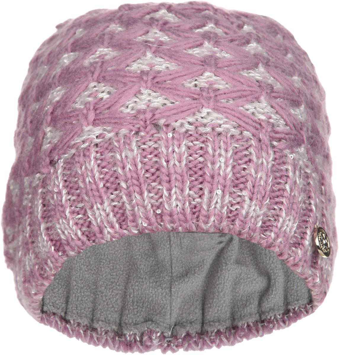 SWH5973/2-109Вязаная женская шапка Snezhna идеально подойдет для вас в холодное время года. Изготовленная из шерсти и полиамида с добавлением мохера, она мягкая и приятная на ощупь, обладает хорошими дышащими свойствами и максимально удерживает тепло. Подкладка шапки выполнена из мягкого теплого флиса. Модель плотно прилегает к голове, благодаря чему надежно защищает от ветра и мороза. Шапка оформлена вязаным узором, а также декорирована мелкими переливающимися пайетками и небольшой металлической пластиной с логотипом бренда. Такой стильный и теплый аксессуар дополнит ваш образ и подчеркнет индивидуальность! Уважаемые клиенты! Размер, доступный для заказа, является обхватом головы.