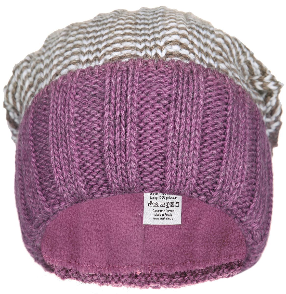 Шапка женская. RWH6507/2RWH6507/2-058.073Отличная вязаная женская шапка Elfrio прекрасно подойдет молодым и активным, ценящим комфорт и красоту. Модель изготовлена из высококачественной акриловой пряжи, она мягкая и приятная на ощупь, обладает хорошими дышащими свойствами и максимально удерживает тепло. Шапка превосходно сохраняет тепло, благодаря флисовой подкладки, мягкая и идеально прилегает к голове. Шапка с широким отворотом выполнена фактурным узором. Незаменимая вещь на прохладную погоду. Такая шапка придаст вашему образу оригинальность. Уважаемые клиенты! Размер, доступный для заказа, является обхватом головы.