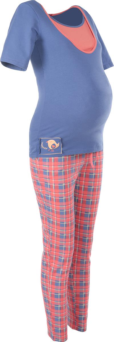Пижама24171Удобная и стильная пижама для беременных и кормящих мам Мамин Дом Glory, изготовленная из эластичного хлопка, подчеркнет ваше очарование в этот прекрасный период вашей жизни. Пижама состоит из футболки и брюк. Футболка с короткими рукавами и круглым вырезом горловины имеет секрет кормления, выполненный в виде внутренней вставки, обеспечивающей быстрый доступ к груди. Футболка оформлена оригинальной нашивкой и контрастной бейкой. Плотные брюки с завышенной талией дополнены скрытым шнурком. Эластичный пояс создает дополнительную поддержку, выполняя роль бандажа. Брюки дополнены двумя втачными карманами и оформлены принтом в клетку. Благодаря свободному крою, такая пижама подарит вам комфорт на любом сроке беременности, и после родов. Одежда, изготовленная из хлопка, приятна к телу, сохраняет тепло в холодное время года и дарит прохладу в теплое, позволяет коже дышать.
