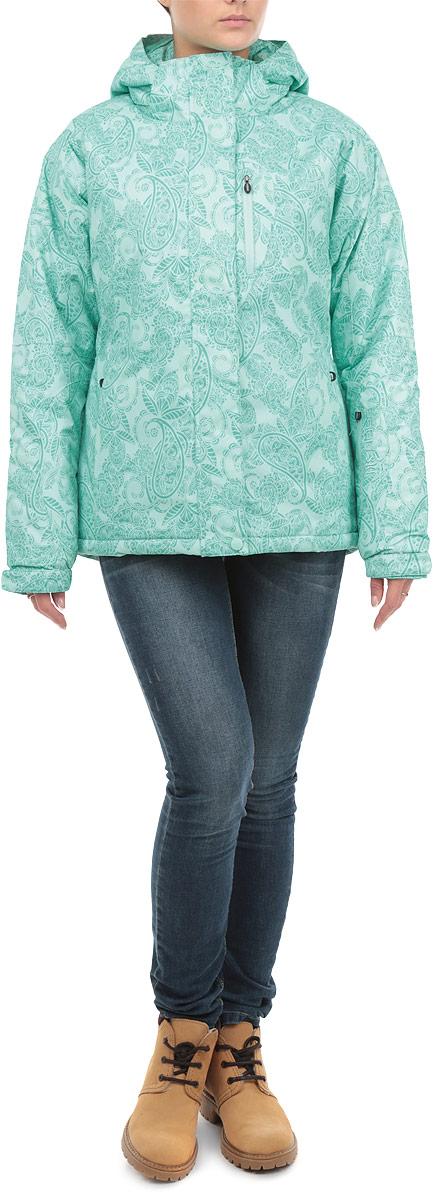 Куртка женская. B035901B035901Стильная женская куртка Baon, изготовленная из высококачественных материалов, обеспечит максимальный комфорт при занятии различными зимними видами спорта. Изделие спортивного кроя с капюшоном, воротником-стойкой и длинными рукавами-реглан застегивается на пластиковую застежку-молнию, а также дополнительно имеет внешний и внутренний ветрозащитные клапаны. Внешний клапан застегивается на кнопку и липучки. Капюшон пристегивается с помощью молнии и кнопок, и дополнен по краю скрытой резинкой со стопперами. Подкладка на спинке для большего комфорта выполнена из мягкого ворсистого материала. Рукава дополнены широкими трикотажными манжетами с прорезями для больших пальцев, а также хлястиками на липучках для регулировки обхвата. Спереди модель дополнена двумя прорезными карманами на молниях. Также имеется внутренний прорезной кармашек на молнии для плеера с выходом под наушники и сетчатый карман для маски. Левый рукав дополнен карманом для ski-pass. На рукавах предусмотрена система...