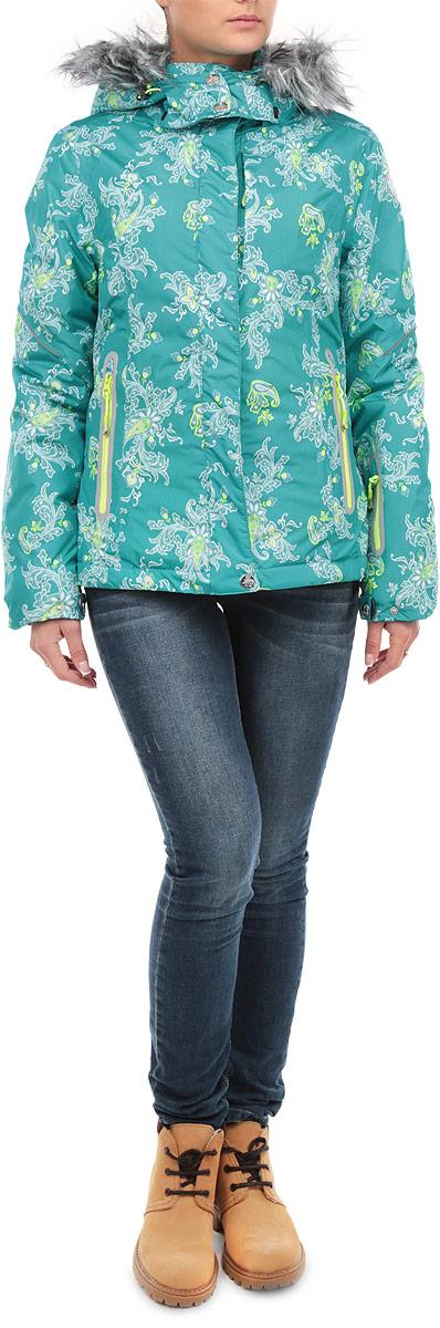 КурткаCp-126/573-5302DСтильная женская куртка Sela, выполненная из высококачественных материалов, обеспечит максимальный комфорт при различных погодных условиях. Изделие прямого кроя воротником-стойкой и длинными рукавами застегивается на пластиковую застежку-молнию по всей длине и дополнительно ветрозащитной планкой на металлические кнопки. Рукава и капюшон изделия дополнительно застегиваются на кнопки. Съемный капюшон изделия декорирован искусственным мехом, который при желании можно отстегнуть. Рукава изделия дополнены эластичными текстильными манжетами, препятствующими проникновению холодного воздуха. Спереди модель дополнена тремя прорезными карманами на молнии. На внутренней стороне куртка оснащена горизонтальной ветрозащитной планкой на резинке, застегивающейся на кнопки, нашивным карманом-сеткой и втачным карманом на молнии. Модель оформлена ярким цветочным фотопринтом и светоотражающими элементами. Эта яркая куртка послужит отличным дополнением к вашему гардеробу!