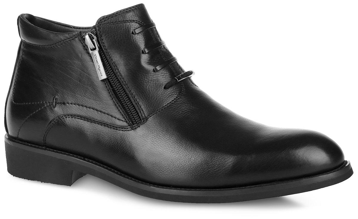 Ботинки мужские. 105-187-14 (T)105-187-14 (T)Стильные мужские ботинки Dino Ricci заинтересуют вас своим дизайном с первого взгляда! Модель выполнена из натуральной кожи и дополнена фактурными швами с прострочкой по верху. Подкладка и стелька из мягкого ворсина комфортны при ходьбе. Верх изделия украшен декоративной шнуровкой и дополнен металлическим элементом. Задник оформлен наружным ремешком. Ботинки застегиваются на застежки-молнии, расположенные на боковых сторонах. Гибкая резиновая подошва с оригинальным рифленым рисунком обеспечивает идеальное сцепление с разными поверхностями. Ультрамодные ботинки не оставят вас незамеченным!