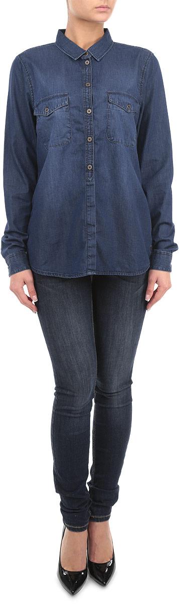 Рубашка женская. 2030862.00.712030862.00.71_1052Женская рубашка Tom Tailor, выполненная из высококачественного 100% хлопка, обладает высокой теплопроводностью, воздухопроницаемостью и гигроскопичностью, позволяет коже дышать, тем самым обеспечивая наибольший комфорт при носке. Модель классического кроя с отложным воротником застегивается на пуговицы. Длинные рукава рубашки дополнены манжетами на пуговицах. На груди расположены два накладных кармана, закрывающиеся клапанами на пуговицах. Такая рубашка подчеркнет ваш вкус и поможет создать великолепный стильный образ.
