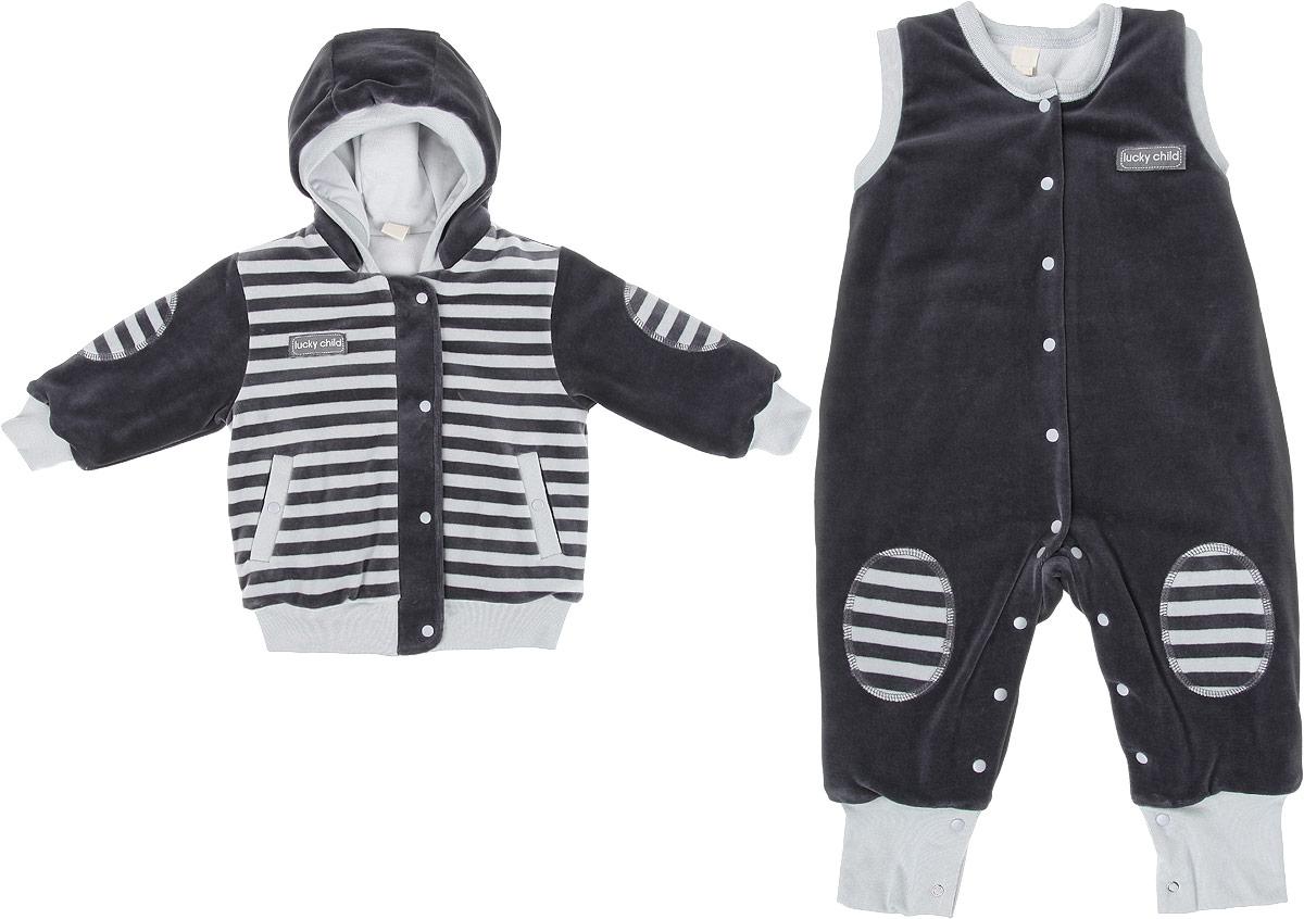 Комплект одежды5-7Детский утепленный комплект Lucky Child Велюр, состоящий из куртки и комбинезона, идеально подойдет вашему ребенку в прохладную погоду. Выполненный из хлопка с добавлением полиэстера, он удивительно мягкий и приятный на ощупь, не сковывает движения ребенка и позволяет коже дышать, не раздражает даже самую нежную и чувствительную кожу ребенка, обеспечивая ему наибольший комфорт. В качестве утеплителя используется синтепон. Он хорошо удерживает тепло и восстанавливает свою форму. Подкладка куртки и комбинезона изготовлена из 100% хлопка. Куртка с капюшоном и длинными рукавами застегивается на молнию с ветрозащитной планкой на кнопках по всей длине. Манжеты рукавов, край капюшона и низ изделия дополнены трикотажными резинками. Спереди предусмотрены два втачных кармашка на кнопках. Комбинезон с открытыми ножками имеет застежки-кнопки от горловины до пяточек, которые помогают легко переодеть младенца или сменить подгузник. Низ брючин дополнен широкими...
