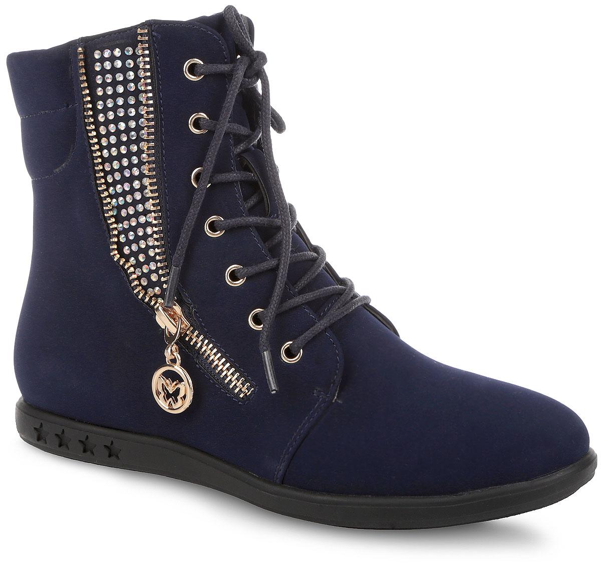 Ботинки для девочки. SY-X15-356 (ADO-006)SY-X15-356 (ADO-006)Сногсшибательные ботинки от Adagio приведут в восторг юную модницу! Модель выполнена из искусственной кожи и оформлена на подошве тиснением в виде звезд, сбоку - стразами, декоративной молнией с бегунком в виде бабочки. Ботинки застегиваются на застежку-молнию, расположенную на одной из боковых сторон. Шнуровка прочно зафиксирует обувь на ноге. Подкладка и стелька, исполненные из мягкого текстиля, комфортны при ходьбе. Подошва с рифлением защищает изделие от скольжения. Удобные и модные ботинки - необходимая вещь в гардеробе каждого ребенка.