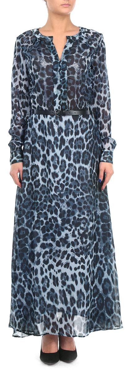 Платье. B455523B455523Элегантное платье Baon макси длины придаст очарование и женственность своей обладательнице. Модель выполнена из струящегося шифона с модным леопардовым принтом, юбка дополнена подкладкой. Платье с отрезной талией, круглым вырезом горловины с V-образным углублением в зону декольте и длинными рукавами. Рукава оформлены манжетами на пуговицах. Акцент на талии создается при помощи ремешка из искусственной кожи. Ремень входит в комплект. Застежка-молния расположена сбоку. Изысканный наряд создаст обворожительный неповторимый образ. Приталенный силуэт подчеркивает стройность фигуры.