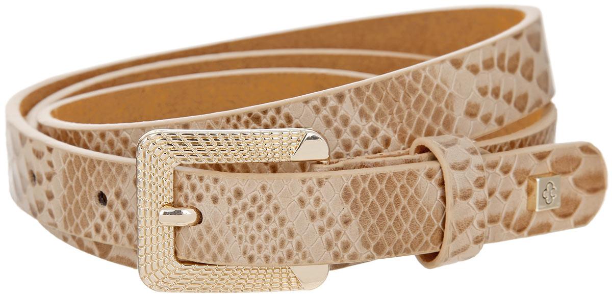 Ремень16005Стильный женский ремень Dispacci станет великолепным дополнением к любому образу. Ремень изготовлен из натуральной кожи с фактурным тиснением под рептилию. Оригинальная прямоугольная пряжка выполнена из металла золотистого цвета с рельефной поверхностью. Небольшая ширина изделия дает возможность эффективно применять его с брюками, юбками и даже верхней одеждой. Длина ремня регулируется. Ремень оформлен металлическими элементами с гравировкой логотипа бренда. Такой изящный ремень шикарно дополнит образ и не перегрузит его лишними деталями, а также позволит вам подчеркнуть свой вкус и индивидуальность.