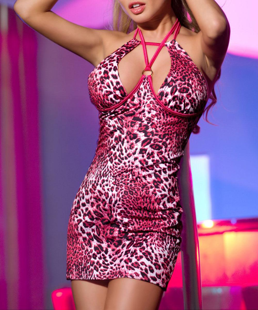 Платье гоу-гоу. 840003840003Эффектное клубное платье с полуоткрытой спиной Candy Girl, выполненное из высококачественного материала, дерзкое и сексуальное. Модель, оформленная леопардовым принтом, на груди дополнена металлическим кольцом, а благодаря необычным завязочкам, бюст идеально подчеркнут. Такое игривое платье добавит особенного настроения вашему образу.