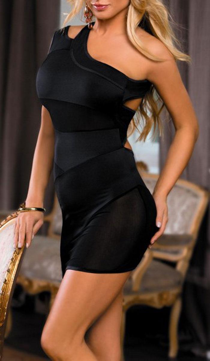 Платье гоу-гоу. 840018840018Мини-платье Candy Girl, выполненное из плотного материала со вставк4ами из сетки, дерзкое и сексуальное. Модель с открытым плечом и асимметричными прозрачными вставками имеет вырезы на спине. Такое игривое платье добавит особенного настроения вашему образу.