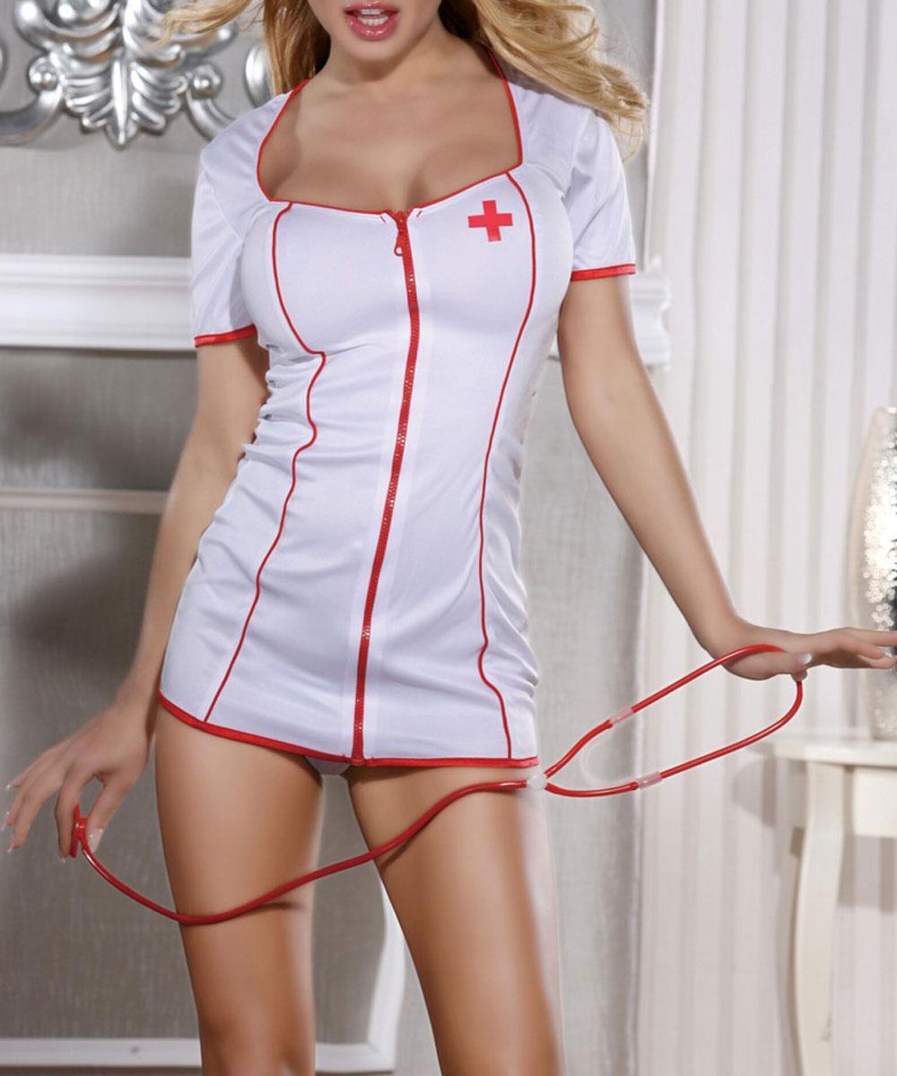 Костюм медсестры. 841012841012Костюм медсестры Candy Girl состоит из короткого платья, трусиков-стрингов, ободка и стетоскопа. Платье с глубоким вырезом и короткими рукавами застегивается по всей длине на пластиковую застежку-молнию. Оформлено платье контрастными бейками и термоаппликацией в виде красного креста. Также в комплект входят открытые трусики-стринги, ободок с трикотажной вставкой и стетоскоп. Такой игривый костюм добавит особенного настроения вашему образу.