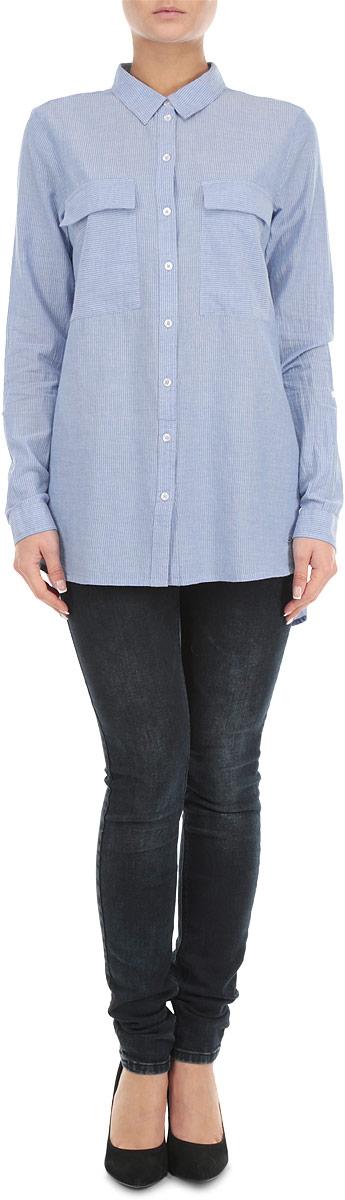 Рубашка женская. 2030763.00.712030763.00.71_6804Стильная женская рубашка Tom Tailor Denim, выполненная из 100%-го хлопка, обладает высокой воздухопроницаемостью и гигроскопичностью, позволяет коже дышать, тем самым обеспечивая наибольший комфорт при носке даже самым жарким летом. Модель с длинными рукавами, отложным воротником и застежкой на пуговицы приятная на ощупь, не сковывает движения, обеспечивая наибольший комфорт. Рубашка оформлена вертикальными полосками и двумя накладными карманами. Эта модная и удобная рубашка послужит замечательным дополнением к вашему гардеробу.