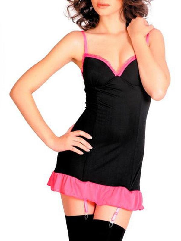 Комплект белья: платье, трусы-стринги. 971015971015Роскошный комплект эротического белья Erolanta Lingerie Collection состоит из платья и трусиков-стрингов. Матовое платье с контрастными игривыми рюшами и пажами, выполненное из эластичной полупрозрачной ткани, дополнено регулируемыми бретелями и плотными чашками, которые зрительно увеличивают грудь. Трусики-стринги, также выполненные из полупрозрачной ткани, регулируются по объему. Игривый комплект белья добавит особенного настроения вашему образу.