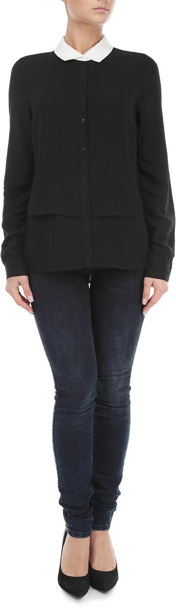 Блузка женская. 1015378010153780 001Стильная женская блуза Broadway, выполненная из вискозы, подчеркнет ваш уникальный стиль и поможет создать оригинальный женственный образ. Блузка с удлиненной спинкой, длинными рукавами и отложным воротником контрастного цвета застегивается на пуговицы спереди, манжеты рукавов также дополнены пуговицами. Легкая блуза идеально подойдет для жарких летних дней. Такая блузка будет дарить вам комфорт в течение всего дня и послужит замечательным дополнением к вашему гардеробу.