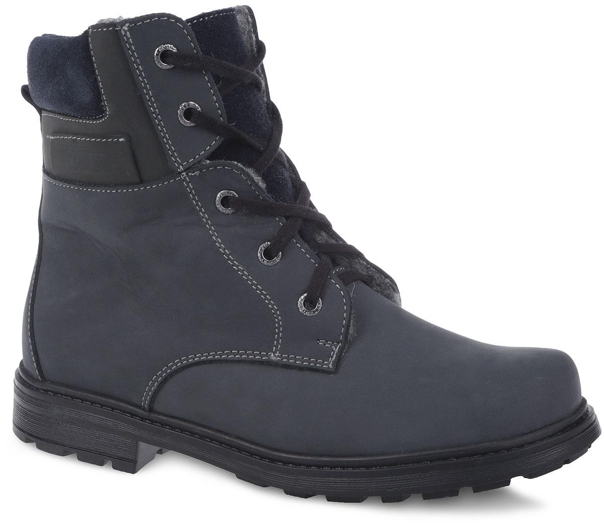 Ботинки детские. 952004952004-41Стильные ботинки от Котофей приведут в восторг любого модника! Модель выполнена из натурального нубука и оформлена лаконичной прострочкой. Мягкий манжет из натуральной замши придает дополнительный комфорт во время носки. Ботинки застегиваются на застежку-молнию, расположенную сбоку. Шнуровка прочно зафиксирует изделие на ноге. Ярлычок на заднике предназначен для удобства обувания. Подкладка из натуральной овечьей шерсти и стелька из войлока создают надежную теплозащиту. Каблук и подошва с протектором обеспечивают идеальное сцепление с любыми поверхностями. Удобные ботинки - необходимая вещь в гардеробе каждого ребенка.