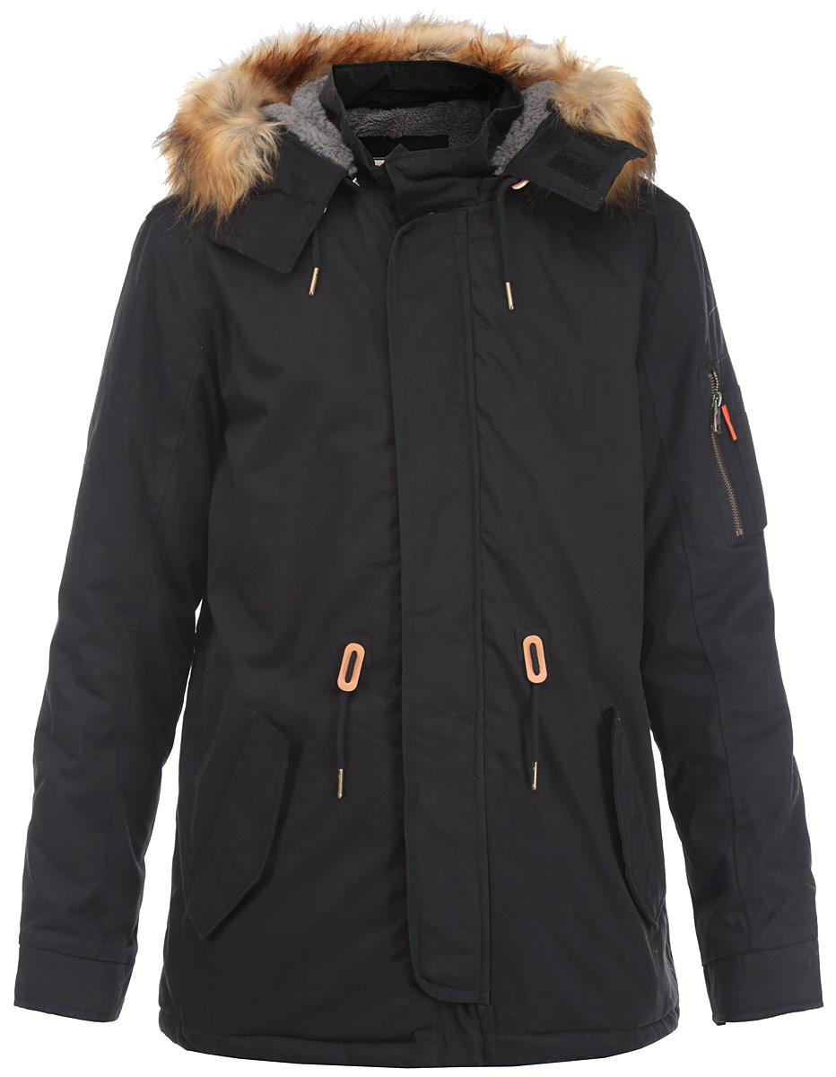 10131045_999Стильная мужская куртка-парка Broadway подходит для холодной осени и зимы. Модель со съемным капюшоном, воротником-стойкой и длинными рукавами застегивается на металлическую застежку-молнию и дополнительно имеет внешнюю ветрозащитную планку на металлических кнопках, капюшон застегивается на липучки. Капюшон дополнен съемной оторочкой из искусственного меха, которую при желании можно отстегнуть. Спереди модель дополнена двумя втачными карманами на кнопках. Левый рукав дополнен нашивным карманом на молнии и четырьмя мелкими кармашками для различных мелочей. С изнаночной стороны имеется прорезной карман. Манжеты изделия дополнены хлястиками на кнопках для регулировки обхвата. Куртка с внешней стороны на талии оформлена текстильным шнуром. Эта теплая и стильная парка послужит отличным дополнением к вашему гардеробу!