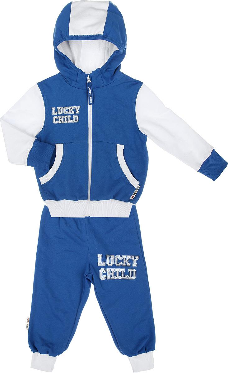OZON.ru8-4Утепленный спортивный костюм Lucky Child, состоящий из толстовки и брюк, идеально подойдет вашему ребенку и станет отличным дополнением к его гардеробу. Изготовленный из натурального хлопка, он очень мягкий и приятный на ощупь, не сковывает движения и позволяет коже дышать, не раздражает даже самую нежную и чувствительную кожу ребенка, обеспечивая наибольший комфорт. Лицевая сторона изделия гладкая, изнаночная - с теплым мягким начесом. Толстовка с капюшоном и длинными рукавами застегивается на пластиковую застежку-молнию. Капюшон с подкладкой контрастного цвета по краю дополнен трикотажной резинкой. Спереди предусмотрены два накладных кармашка. Понизу модель дополнена широкой трикотажной резинкой, а на рукавах имеются манжеты, не стягивающие запястья. Спортивные брюки на широком эластичном на поясе не сдавливают животик ребенка и не сползают. Снизу брючин предусмотрены широкие манжеты. Модель оформлена принтовыми надписями с названием бренда. ...