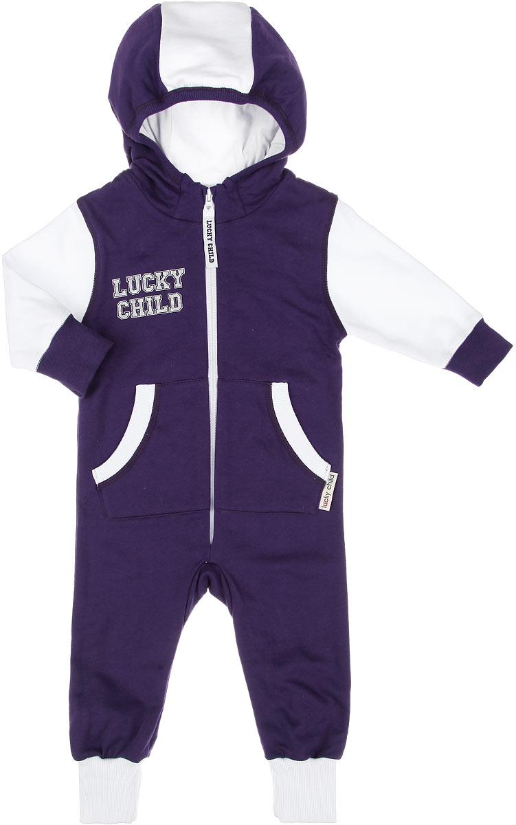 8-3Детский утепленный комбинезон Lucky Child станет отличным дополнением к детскому гардеробу. Изготовленный из натурального хлопка, он мягкий и приятный на ощупь, не сковывает движения и позволяет коже дышать, не раздражает даже самую нежную и чувствительную кожу ребенка, обеспечивая наибольший комфорт. Лицевая сторона изделия гладкая, изнаночная - с теплым мягким начесом. Комбинезон с капюшоном, длинными рукавами и открытыми ножками застегивается на пластиковую молнию, что помогает при переодевании ребенка. Спереди предусмотрены два накладных кармана. Рукава и низ брючин дополнены широкими трикотажными манжетами. Изделие оформлено небольшой принтовой надписью на груди. Отличное качество, дизайн и расцветка делают этот комбинезон незаменимым предметом детской одежды. В нем вашему ребенку будет тепло, комфортно и уютно!