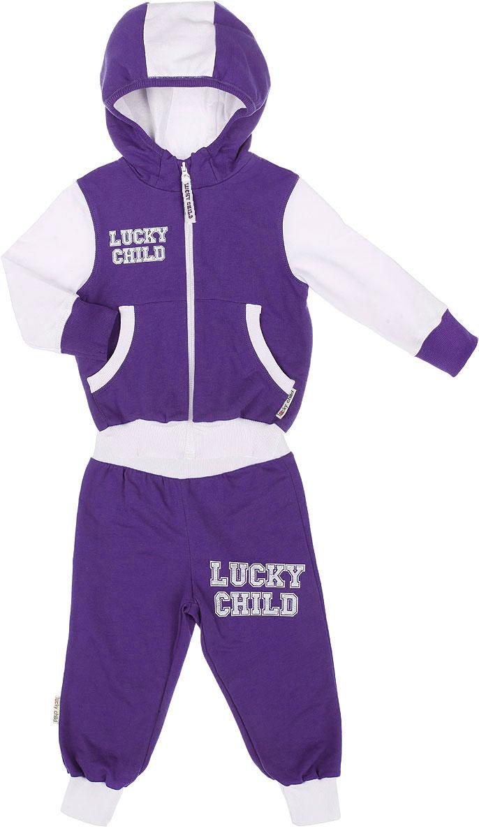Спортивный костюм детский. 8-28-2Утепленный спортивный костюм Lucky Child, состоящий из толстовки и брюк, идеально подойдет вашему ребенку и станет отличным дополнением к его гардеробу. Изготовленный из натурального хлопка, он очень мягкий и приятный на ощупь, не сковывает движения и позволяет коже дышать, не раздражает даже самую нежную и чувствительную кожу ребенка, обеспечивая наибольший комфорт. Лицевая сторона изделия гладкая, изнаночная - с теплым мягким начесом. Толстовка с небольшим воротником-стойкой и длинными рукавами застегивается на пластиковую застежку- молнию. Спереди предусмотрены два накладных кармашка. Понизу модель дополнена широкой трикотажной резинкой, а на рукавах имеются манжеты, не стягивающие запястья. Спортивные брюки на широком эластичном на поясе не сдавливают животик ребенка и не сползают. Снизу брючин предусмотрены широкие манжеты. Модель оформлена принтовыми надписями с названием бренда. В таком костюме ваш ребенок будет чувствовать себя...