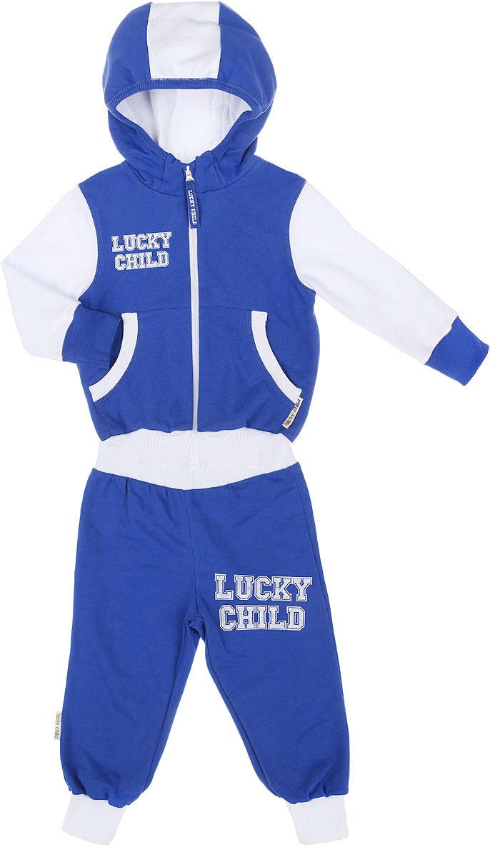 Спортивный костюм8-2Утепленный спортивный костюм Lucky Child, состоящий из толстовки и брюк, идеально подойдет вашему ребенку и станет отличным дополнением к его гардеробу. Изготовленный из натурального хлопка, он очень мягкий и приятный на ощупь, не сковывает движения и позволяет коже дышать, не раздражает даже самую нежную и чувствительную кожу ребенка, обеспечивая наибольший комфорт. Лицевая сторона изделия гладкая, изнаночная - с теплым мягким начесом. Толстовка с небольшим воротником-стойкой и длинными рукавами застегивается на пластиковую застежку- молнию. Спереди предусмотрены два накладных кармашка. Понизу модель дополнена широкой трикотажной резинкой, а на рукавах имеются манжеты, не стягивающие запястья. Спортивные брюки на широком эластичном на поясе не сдавливают животик ребенка и не сползают. Снизу брючин предусмотрены широкие манжеты. Модель оформлена принтовыми надписями с названием бренда. В таком костюме ваш ребенок будет чувствовать себя...