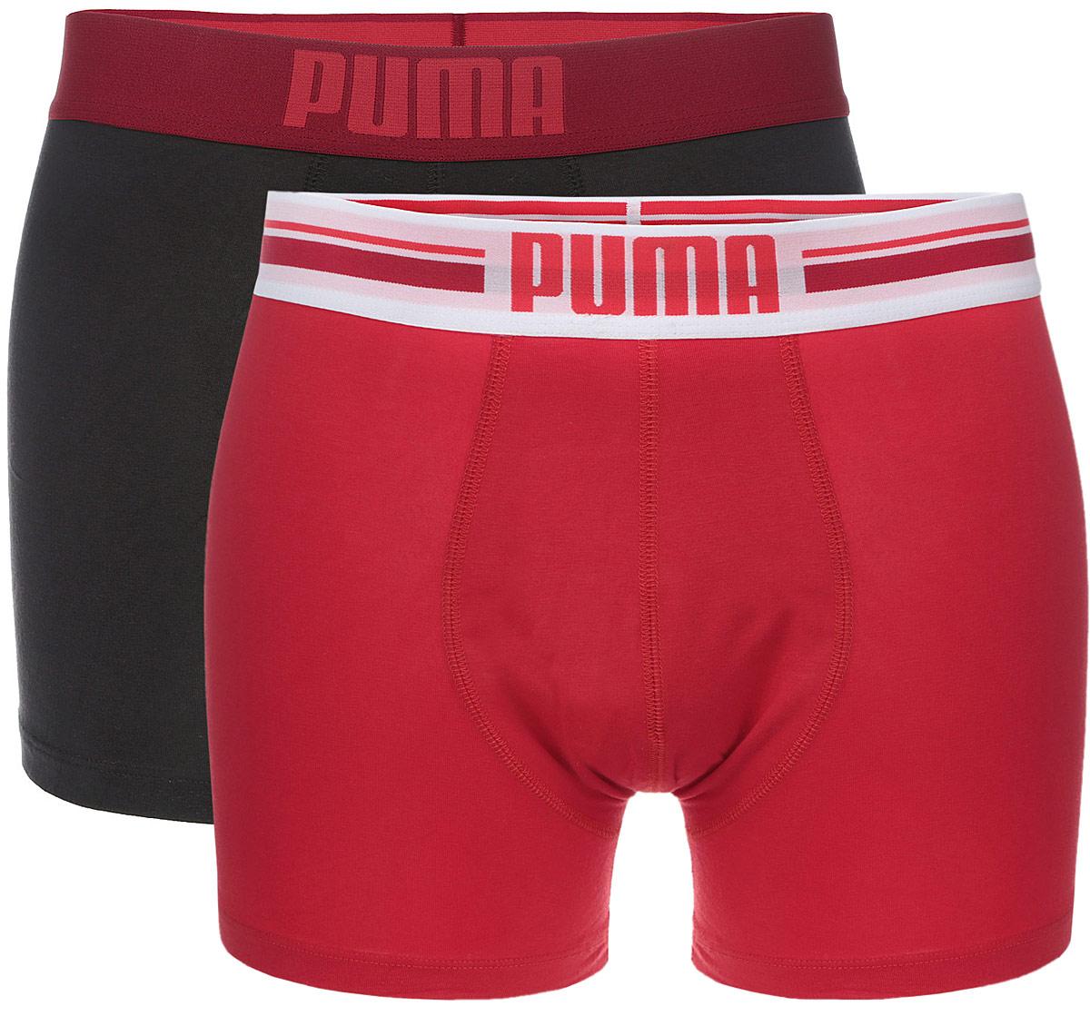 Трусы мужские Puma Placed Logo Boxer 2P, 2 шт. 906519090651901Комплект классических трусов-боксеров Puma Placed Logo Boxer 2P на широкой резинке с надписью логотипа бренда по поясу. Тонкие, мягкие, нежные и приятные к телу трусы подходят к любой фигуре и будут незаметны под одеждой. Модель создана для тех, кто предпочитает комфорт, практичность и современный дизайн. В комплекте 2 шт.