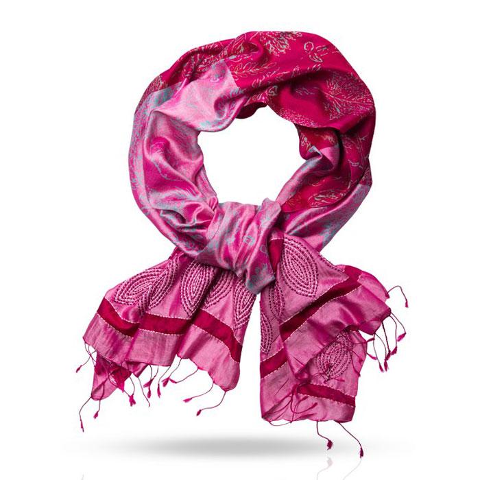 Шарф женский. SN.SH-EMBSN.SH-EMB/AСтильный шарф Michel Katana согреет вас в прохладную погоду и станет отличным завершением вашего образа. Шарф изготовлен из 100%-го шелка и оформлен оригинальным вышитым цветочным принтом. Материал мягкий и приятный на ощупь, хорошо драпируется. Края палантина декорированы кисточками, скрученными в жгутики. Этот модный аксессуар гармонично дополнит любой наряд и подчеркнет ваш изысканный вкус.