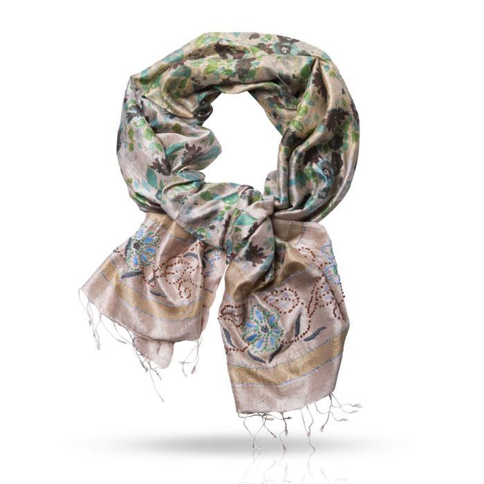 SN.SH-EMB/AСтильный шарф Michel Katana согреет вас в прохладную погоду и станет отличным завершением вашего образа. Шарф изготовлен из 100%-го шелка и оформлен оригинальным вышитым цветочным принтом. Материал мягкий и приятный на ощупь, хорошо драпируется. Края палантина декорированы кисточками, скрученными в жгутики. Этот модный аксессуар гармонично дополнит любой наряд и подчеркнет ваш изысканный вкус.