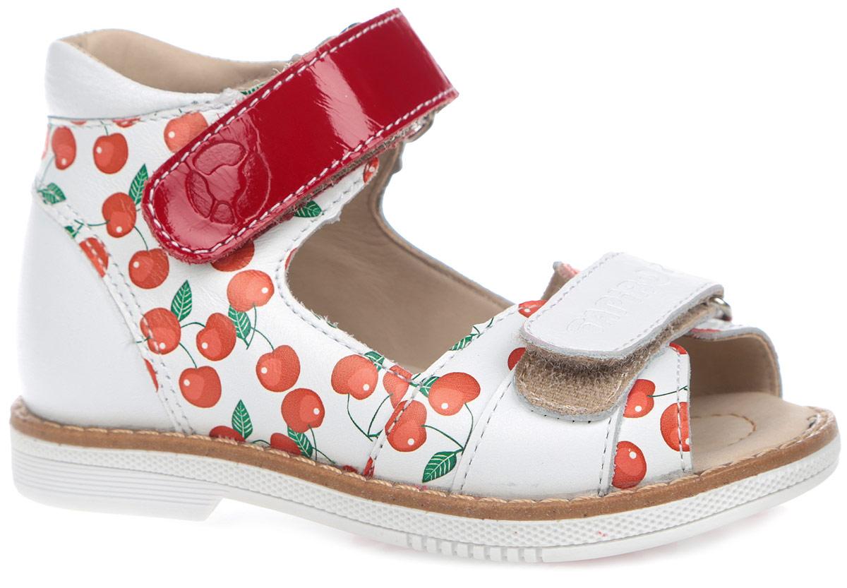 Сандалии для девочки. FT-26003.15-OL03O.01FT-26003.15-OL03O.01Модные сандалии от TapiBoo придутся по душе вам и вашей малышке! Модель выполнена из натуральной высококачественной кожи. Обувь оформлена принтом с изображением вишни, вдоль ранта - крупной прострочкой, на подошве сзади - названием бренда, на ремешках - тиснениями в виде названия и логотипа бренда. Отсутствие швов на подкладке гарантирует дополнительный комфорт и предотвращает натирание. Полужесткий закрытый задник и ремешки на застежках-липучках надежно фиксируют ножку ребенка, не давая ей смещаться из стороны в сторону и назад. Стелька из натуральной кожи дополнена супинатором с перфорацией, который обеспечивает правильное положение ноги ребенка при ходьбе, предотвращает плоскостопие. Ортопедический каблук Томаса укрепляет подошву под средней частью стопы и препятствует заваливанию детской стопы внутрь. Упругая подошва дополнена перекатами, позволяющими повторить естественное движение стопы при ходьбе для правильного распределения нагрузки на опорно-двигательный аппарат. ...