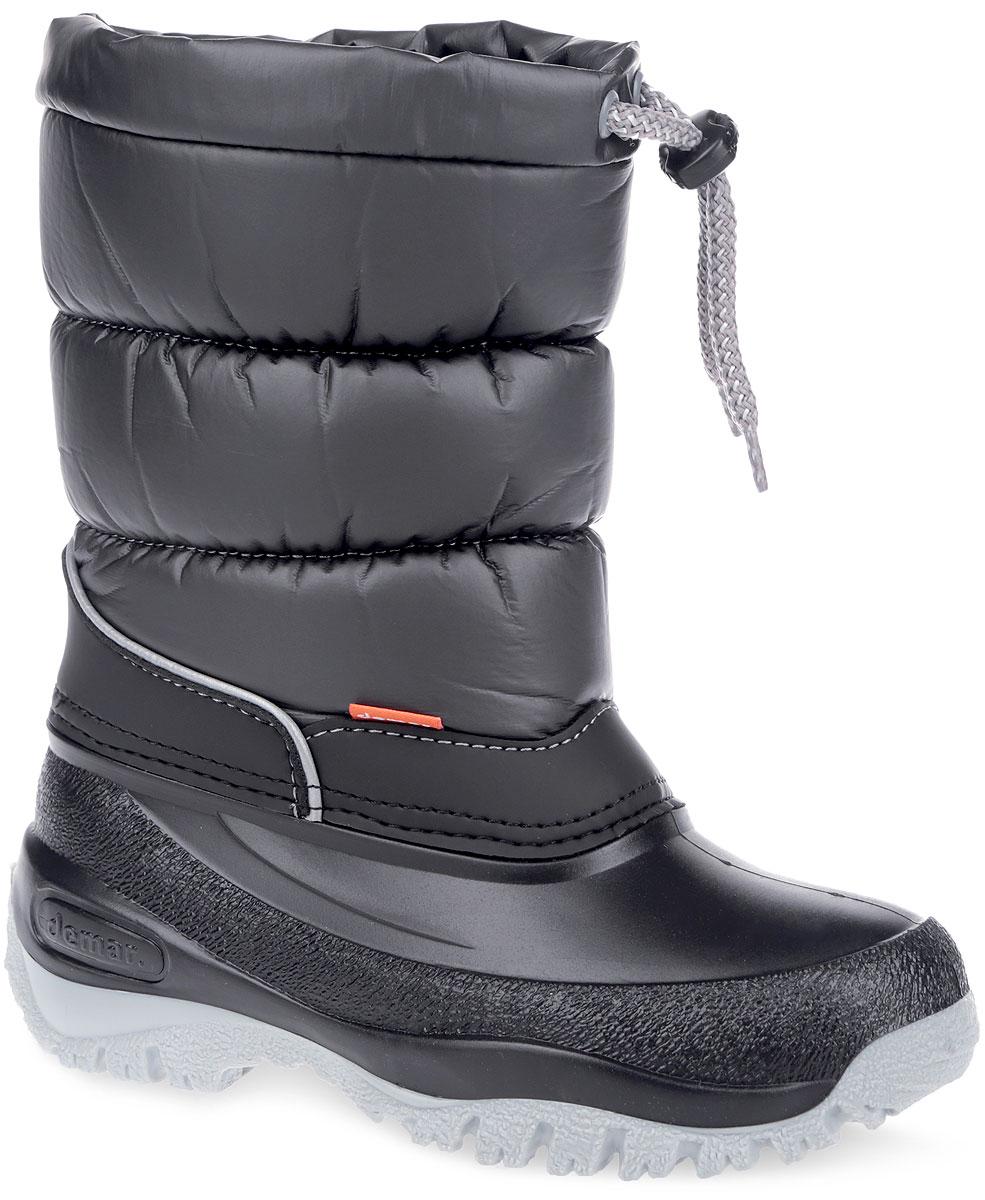 1354/1417Стильные дутики Lucky от Demar придутся по вкусу вашему ребенку. Верх модели выполнен из высококачественного текстиля и ПВХ. Подкладка выполнена из текстиля. Модель оснащена съемным носком, выполненным из мягкого текстиля, который не даст ногам замерзнуть. Стелька съемного носка, выполненная из войлока, комфортна при ходьбе. Голенище затягивается на текстильный шнурок. Подошва с рифлением обеспечит отличное сцепление с любыми поверхностями. Удобные дутики - необходимая вещь в гардеробе вашего ребенка.