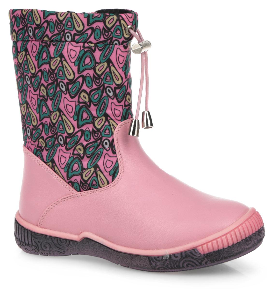 3013602Очаровательные сапожки от Mursu приведут в восторг вашу девочку! Модель изготовлена из текстиля и искусственной кожи. Обувь оформлена на голенище оригинальным принтом. Сапоги застегиваются на удобную застежку-молнию, расположенную на одной из боковых сторон. Верх голенища регулируется в объеме за счет шнурка с бегунком. Подкладка и стелька из шерсти комфортны при ходьбе. Подошва с рифленым рисунком в виде цветов защищает изделие от скольжения. Стильные и удобные сапоги займут достойное место в гардеробе вашего ребенка.