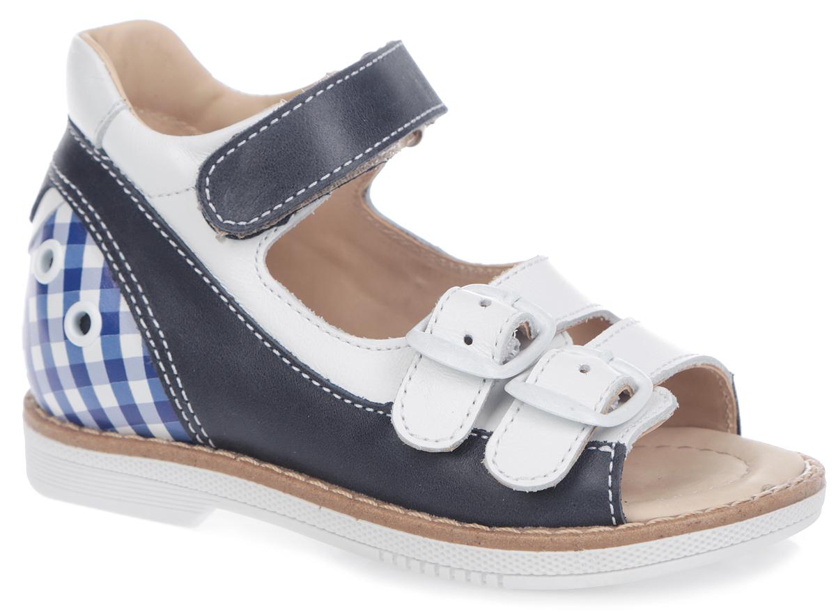 FT-26001.15-OL08O.01Модные сандалии от TapiBoo придутся по душе вам и вашему ребенку! Модель выполнена из натуральной высококачественной кожи и оформлена крупной прострочкой вдоль ранта, на задней поверхности - декоративными люверсами и клеточным принтом, на заднике - тиснением в виде логотипа бренда, на подошве сзади - названием бренда. Отсутствие швов на подкладке гарантирует дополнительный комфорт и предотвращает натирание. Полужесткий закрытый задник и ремешки (два из них застегиваются на пряжку и один на липучку) надежно фиксируют ножку ребенка, не давая ей смещаться из стороны в сторону и назад. Ярлычок на заднике предназначен для удобства обувания. Стелька из натуральной кожи дополнена супинатором с перфорацией, который обеспечивает правильное положение ноги ребенка при ходьбе, предотвращает плоскостопие. Ортопедический каблук Томаса укрепляет подошву под средней частью стопы и препятствует заваливанию детской стопы внутрь. Упругая подошва дополнена перекатами, позволяющими повторить...