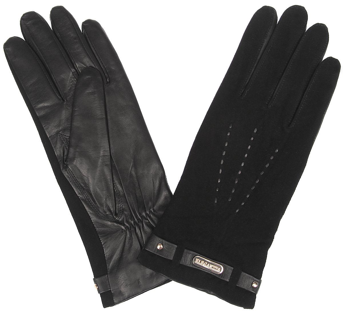 Перчатки женские. HP09123HP09123Стильные женские перчатки Eleganzza не только защитят ваши руки от холода, но и станут великолепным украшением. Ладонная часть модели выполнена из натуральной кожи с гладкой поверхностью, тыльная сторона - из натуральной замши. Модель оформлена кожаным плетением три луча и декоративным кожаным ремешком с металлическим элементом с надписью Eleganzza. На запястье изделие дополнено стяжкой. В настоящее время перчатки являются неотъемлемой частью гардероба, вместе с этим аксессуаром вы обретаете женственность и элегантность. Перчатки станут завершающим и подчеркивающим элементом вашего стиля и неповторимости.