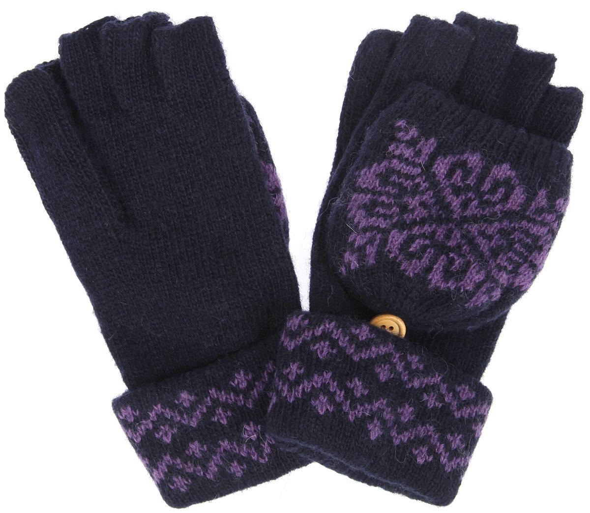 Перчатки-варежки женские. W82W82Вязаные женские перчатки-варежки Marmalato не только защитят ваши руки, но и станут великолепным украшением. Перчатки, выполненные из шерсти и нейлона, хорошо сохраняют тепло, мягкие, идеально сидят на руке и хорошо тянутся. Изделие представляет собой перчатки без пальцев, к внешней стороне которых крепится капюшон, накинув его на пальцы, перчатки превращаются в варежки. Капюшон фиксируется на перчатке при помощи пуговицы и дополнен подкладкой из акрила. С обратной стороны капюшон оформлен контрастным узором. В таких оригинальных перчатках-варежках вам будет тепло и уютно, и вы всегда будете в центре внимания!
