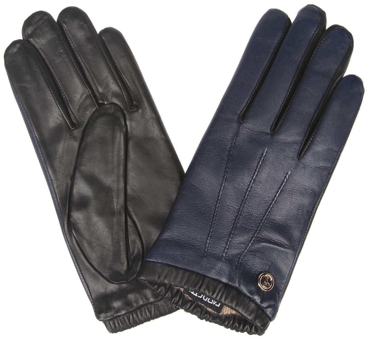 Перчатки женские. 2.292.29-12_navyЭлегантные женские перчатки Fabretti станут великолепным дополнением вашего образа и защитят ваши руки от холода и ветра во время прогулок. Перчатки выполнены из натуральной кожи ягненка и имеют подкладку из шерсти с добавлением кашемира, что позволяет им надежно сохранять тепло. Модель оснащена эластичной резинкой на запястье и оформлена декоративной отстрочкой с внешней стороны. Украшено изделие небольшим декоративным элементом с логотипом бренда. Такие перчатки будут оригинальным завершающим штрихом в создании современного модного образа, они подчеркнут ваш изысканный вкус и станут незаменимым и практичным аксессуаром.