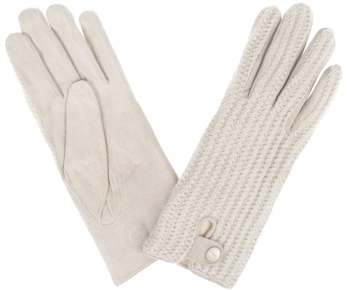 XAL 05 PUЭлегантные женские перчатки Modo станут великолепным дополнением вашего образа и защитят ваши руки от холода и ветра во время прогулок. Перчатки выполнены из натурального велюра и имеют подкладку из флиса, что позволяет им надежно сохранять тепло и обеспечивает высокую гигроскопичность. Модель дополнена хлястиком с кнопкой на запястье и оформлена вязаными вставками. Такие перчатки будут оригинальным завершающим штрихом в создании современного модного образа, они подчеркнут ваш изысканный вкус и станут незаменимым и практичным аксессуаром.