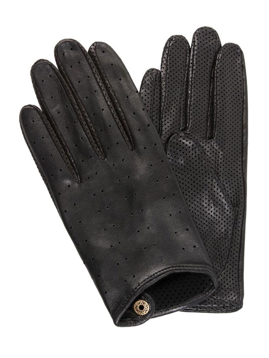Перчатки женские. 6IAL6IAL/BLСтильные женские перчатки Dali Exclusive, изготовленные из натуральной кожи ягненка, станут стильным дополнением вашего образа. Благодаря специальным вентиляционным отверстиям рукам будет комфортно. На тыльной стороне изделие застегивается на кнопку. Такие перчатки станут достойным элементом вашего стиля и сохранят тепло ваших рук.