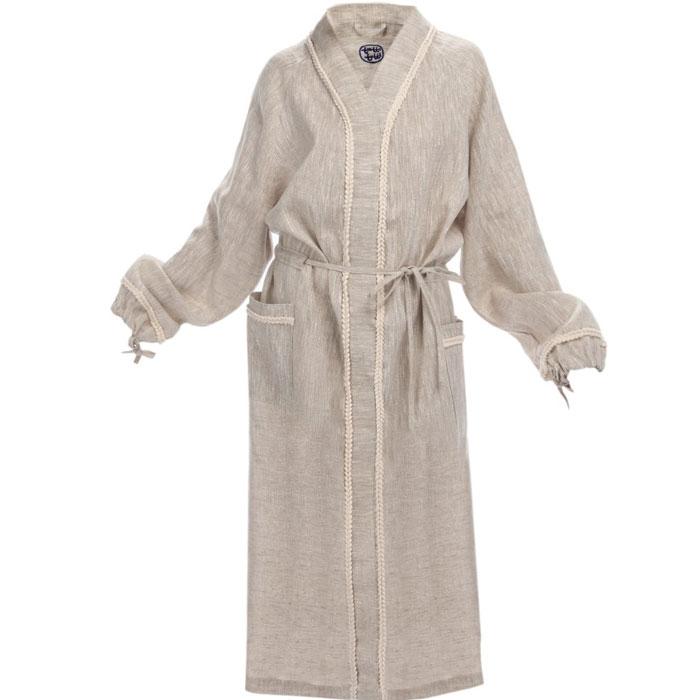 Халат150Женский банный халат Onni, изготовленный из натурального льна, декорирован тесьмой в виде косичек. Халат с запахом, на поясе, с завязками на рукавах и двумя накладными карманами радует простотой и элегантностью, а также позволяет коже дышать и наслаждаться отдыхом. Onni (Онни) - это воплощение природной заботы в одежде для бани и сауны. Коллекция, выполненная из натурального льна - абсолютно экологичного материала, - радует простотой и элегантностью моделей. Благодаря высокой гигроскопичности материал прекрасно впитывает влагу и позволяет коже дышать и наслаждаться отдыхом.