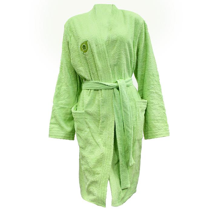 Халат32154Махровый женский халат Банные штучки, выполненный из натурального хлопка, принесет вам неповторимую легкость и удовольствие повседневного комфорта. Халат с запахом дополнен съемным поясом и двумя накладными карманами спереди. На груди расположен вышитый логотип производителя. В атмосфере домашнего тепла и уюта вы и в будни сможете сохранить радостное и светлое настроение, облачившись в удобный халат после расслабляющей ванны вечером или после контрастного душа с утра.