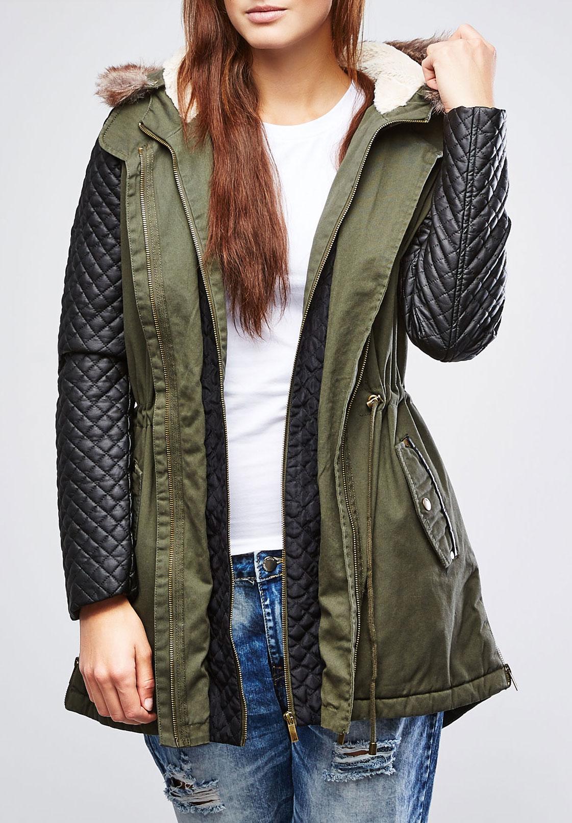 Куртка женская. Z-KU-1802Z-KU-1802 OLIVEСтильная женская куртка Moodo подходит для прохладной погоды. Куртка с несъемным капюшоном на и длинными рукавами застегивается на металлическую застежку- молнию и дополнительно имеет внутреннюю ветрозащитную планку на молнии. Рукава изделия выполнены из искусственной кожи. Капюшон дополнен съемной оторочкой из искусственного меха. Внутренняя часть капюшона отделана флисом. Спереди модель дополнена двумя втачными карманами на молнии и двумя втачными карманами на метталлических кнопках. Подкладка изделия оформлена стеганой отстрочкой. Куртка с внешней стороны на талии оформлена текстильным шнуром. Эта теплая стильная куртка послужит отличным дополнением к вашему гардеробу!