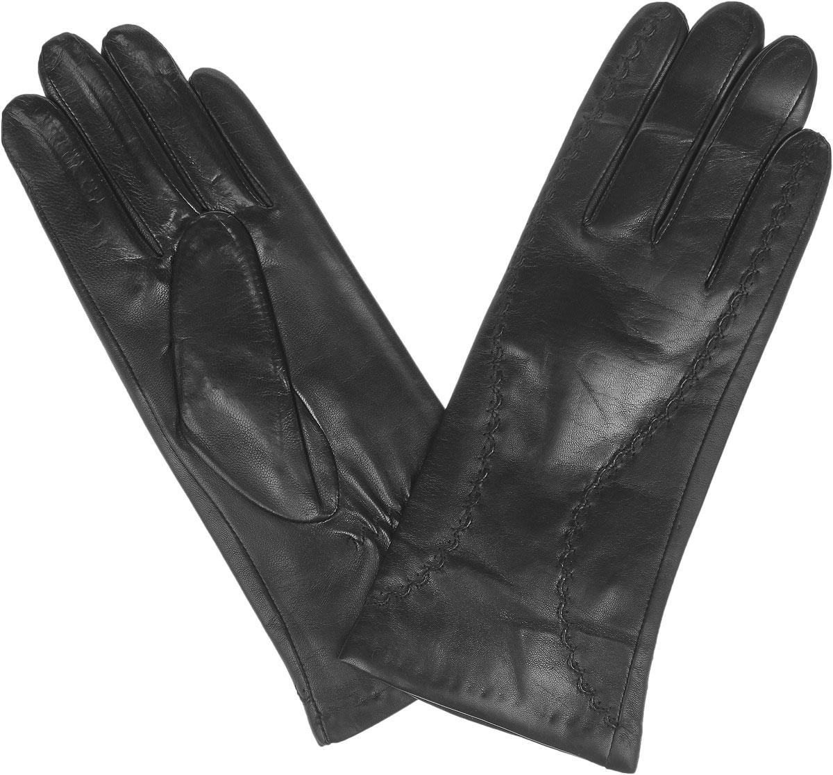 Перчатки2.18-1_blackЖенские перчатки Fabretti защитят ваши руки от холода и станут стильным дополнением к вашему образу. Перчатки изготовлены из натуральной кожи на подкладке из шерсти с добавлением кашемира. Лицевую сторону изделия украшает фигурная прострочка. На запястье модель присборена на небольшие резинки. Перчатки являются неотъемлемой принадлежностью одежды, вместе с этим аксессуаром вы обретаете женственность и элегантность. Они станут завершающим и подчеркивающим элементом вашего неповторимого стиля.